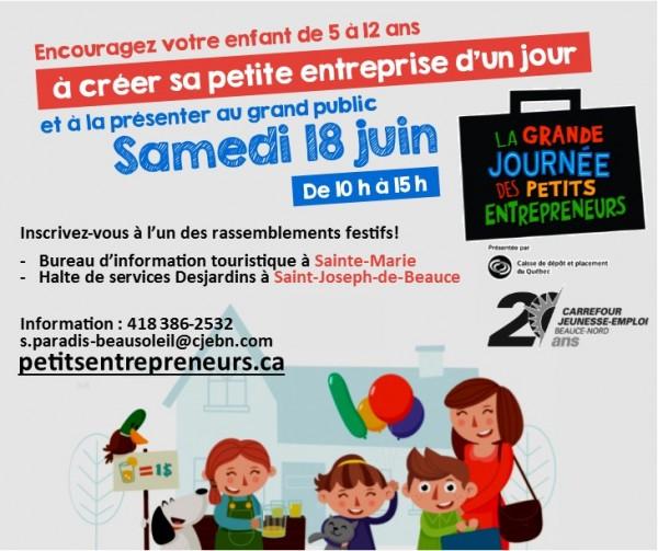 Samedi 18 juin - Grande journée des petits entrepreneurs! Venez les encourager!